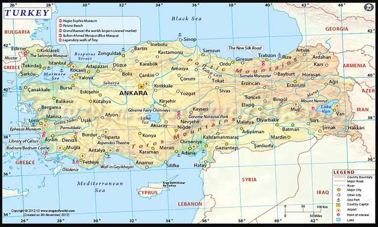 Türkiye'nin Enlem ve Boylamı